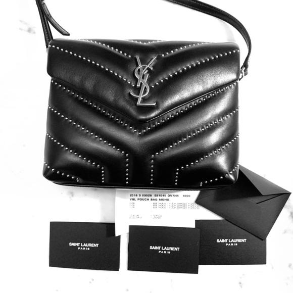 2565ebff1f5 Saint Laurent Black Lou Lou Stud Embellished Bag. M_5c18e15d035cf1d62961a23c
